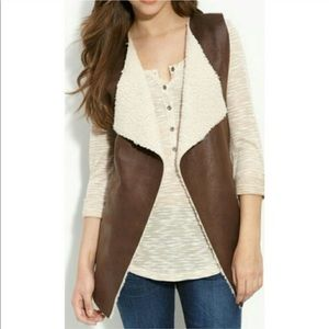 echo Faux Leather Vest with Faux Shearling Lining